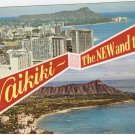 Waikiki New and Old Hawaii vintage postcard