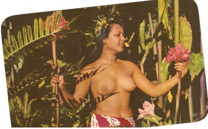 Beautiful Tahitian Maid Cook Island Tahiti vintage postcard