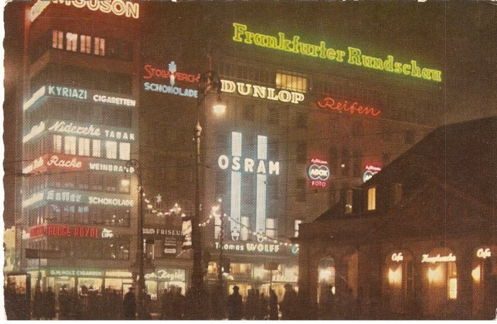 Frankfurt Germany at Night Hauptwache  vintage postcard