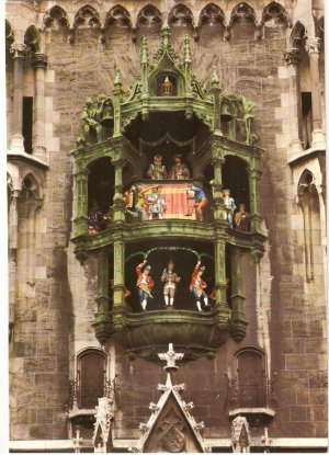 Munich Chimes of Bells City Hall Germany vintage postcard