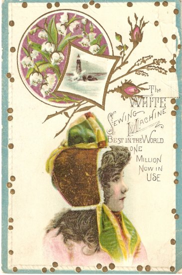 White Sewing Machine Vintage Trade Card