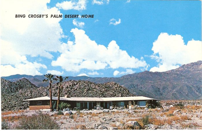 Bing Crosby Palm Desert Home California Silver Spur Ranch vintage postcard