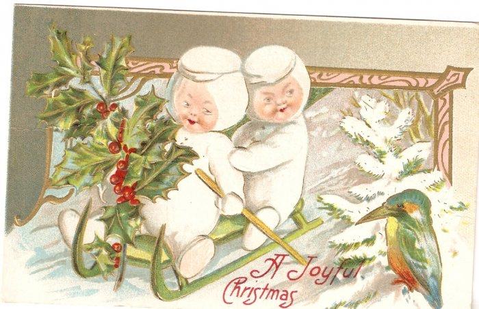 A Joyful Christmas Card 1910 sled baby bird vintage postcard