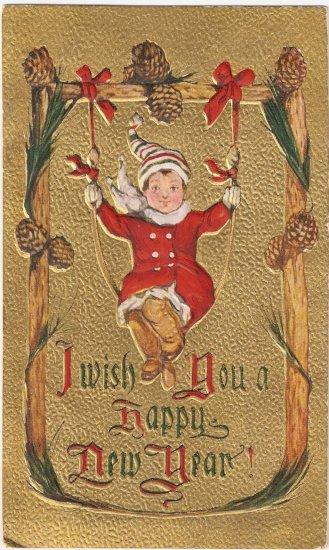 Happy New Year elf Christmas vintage postcard
