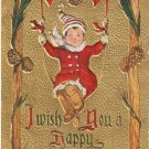 Happy New Year elf Christmas vintage postcard