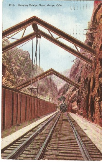 Hanging Bridge Royal Gorge Colorado 1911 vintage postcard