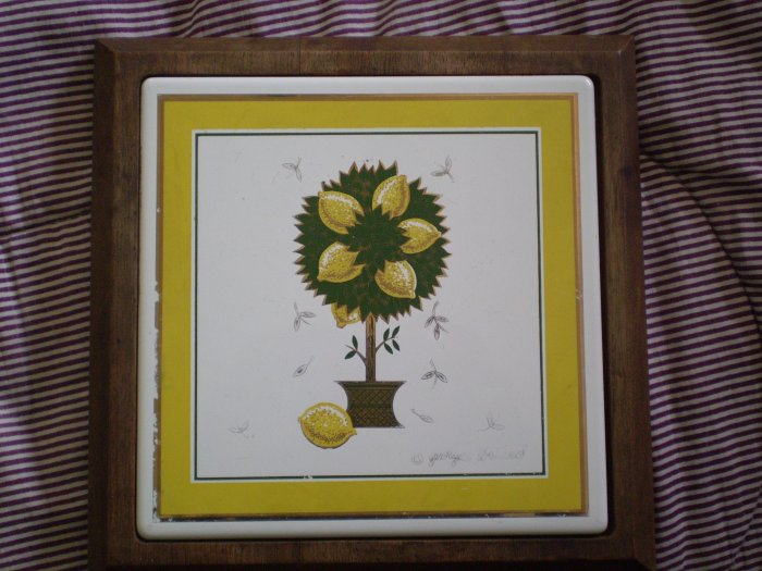 Vintage Georges Briard Trivet Woodland Wood Tile Lemon Tree