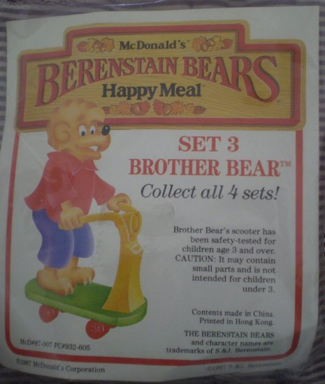 McDonald #3 Brother Bear Berenstain Bears 1987 Happy Meal New