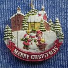 Merry Christmas Ornament Winter Scene Snowman Children