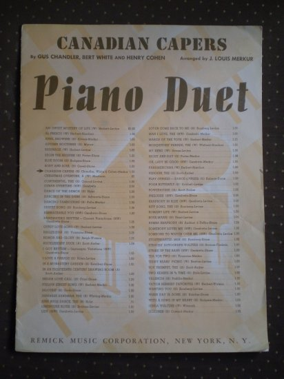 Canadian Capers Louis Merkur Piano Duet 1940 sheet music