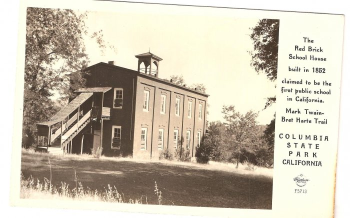Red Brick School House California Columbia State Park vintage postcard
