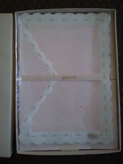 Hallmark Crown Collection Stationery Pink Lace Vintage in Box