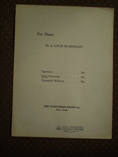 Valse Gracieuse A Louis Scarmolin 1945 Composers Press Sheet Music