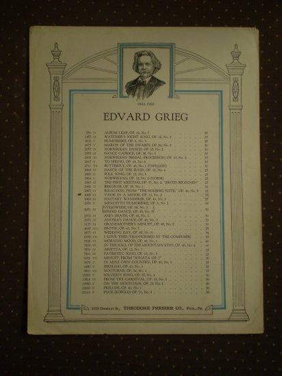 Edvard Grieg Valse in A Minor Op 12 #12 Sheet Music 2968 Presser