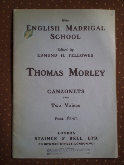 English Madrigal School Thomas Morley Canzonets for Two Voices 1956 songbook