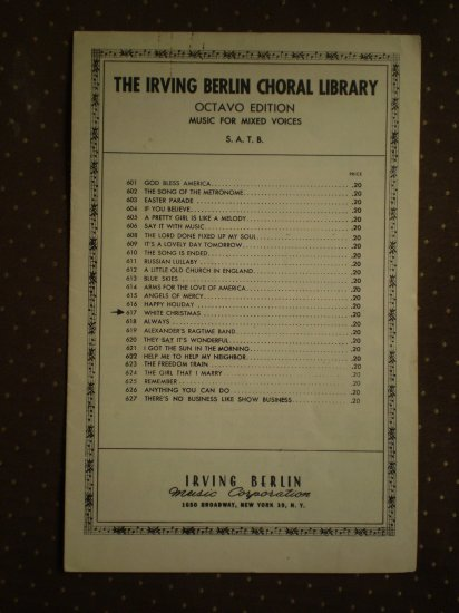 White Christmas Octavo Edition SATB Irving Berlin 1942 sheet music