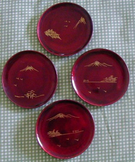 "Vintage Coasters Wood Lacquerware Maroon 3"" Lot 4 Plate"