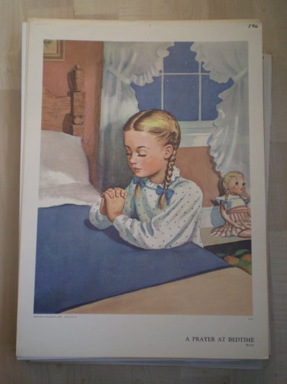A Prayer at Bedtime Providence Lithograph 1958 Ryan print