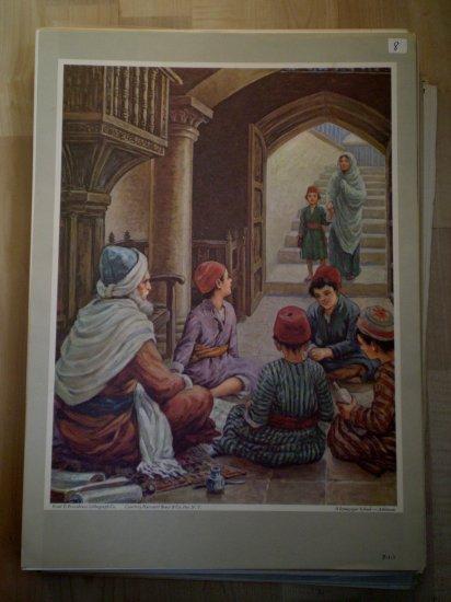Synagogue School Providence Lithograph Vintage Atkinson print