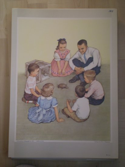 Caring For A Pet Providence Lithograph 1963 Handsaker print