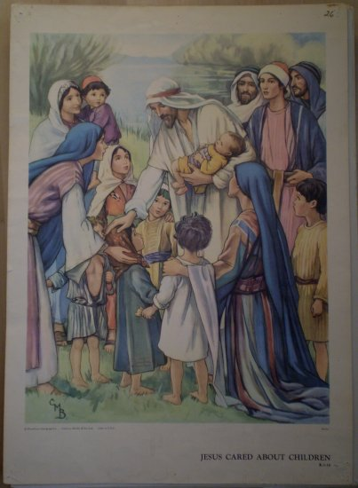 Jesus Cared About Children Providence Lithograph Vintage Barker