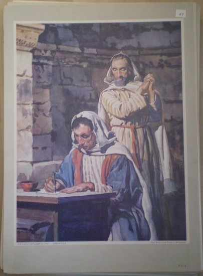 Paul Writes From Prison Providence Lithograph Woodward Print 1962