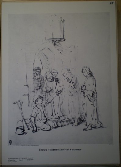 Peter & John Beautiful Gate Temple Rembrandt Print MMA 1974