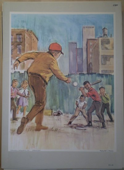 Playing Ball Providence Lithograph 1965 Timmins Print