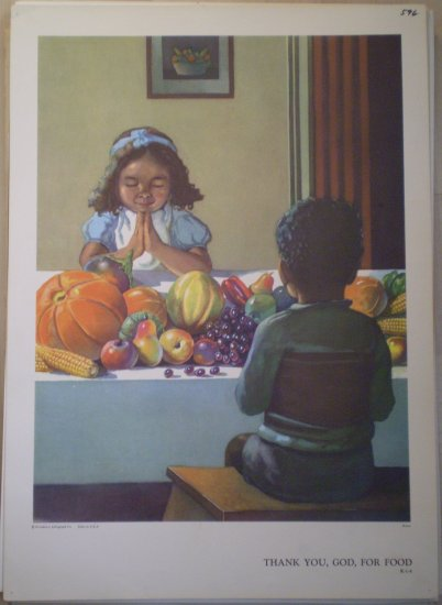 Thank You God For Food Providence Lithograph Vintage Brown Print