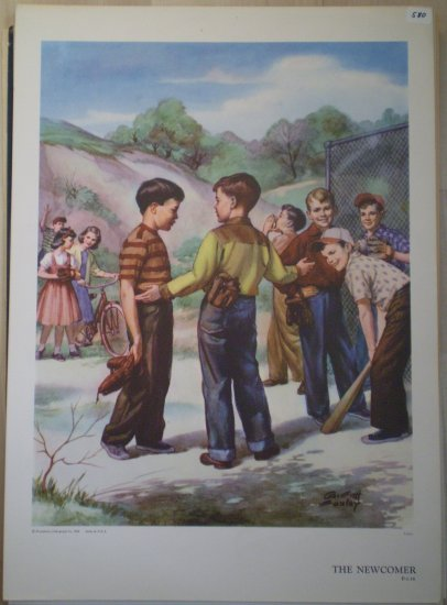 The Newcomer Providence Lithograph 1956 Foxley print