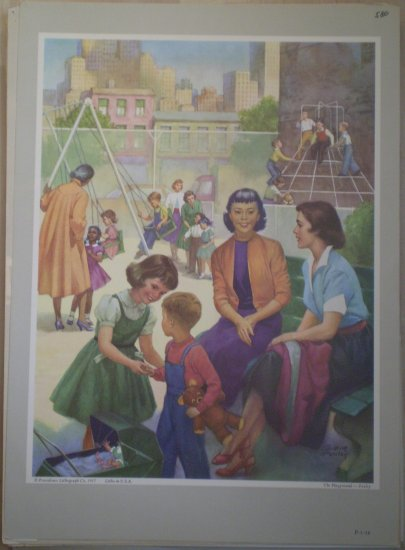 The Playground Providence Lithograph 1957 Foxley print