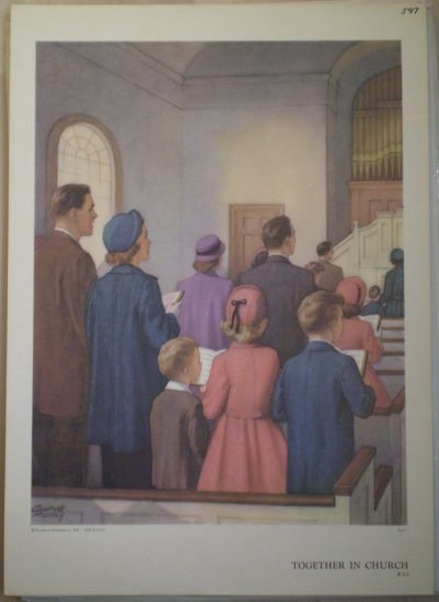 Together in Church Providence Lithograph Vintage Foxley print