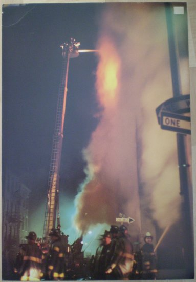 Firefighters Putting Out A Large Fire Kirouac Monkmeyer 1979 print
