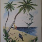1965 DCC Publishing Co. Family Tropical Beach Vintage Litho Print