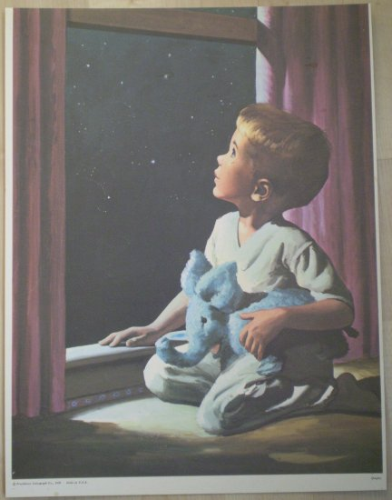 Boy Looking Out The Window Starry Night Providence Lithograph Vintage Quigley Print