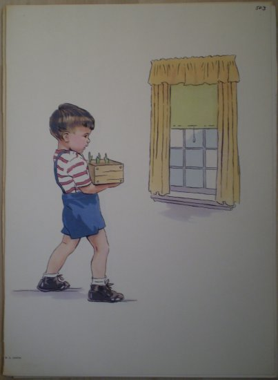 Boy Carrying Box of Seedlings Plants Vintage Jenkins Litho Print Poster