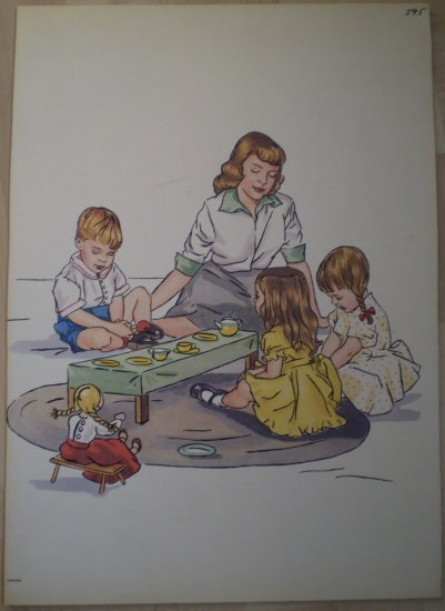 Tea Party Praying Grace Vintage Jenkins Litho Print Poster