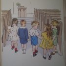 Children Walking Down Church Aisle Vintage Jenkins Litho Print Poster
