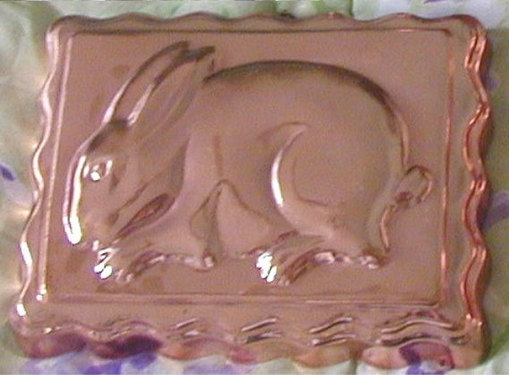 "Vintage Copper Rabbit Mold Bunny Rectangle 6.5"" x 8.5"""