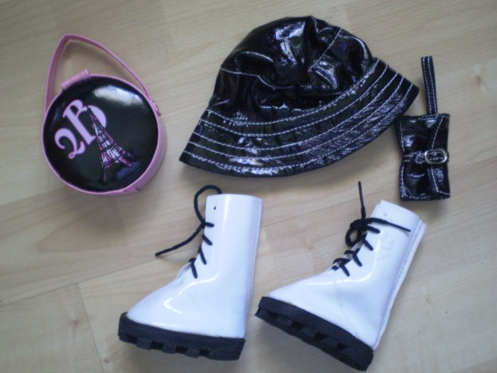 Friends 2B Made Build a Bear Doll Hat Boots Bags Black Patent