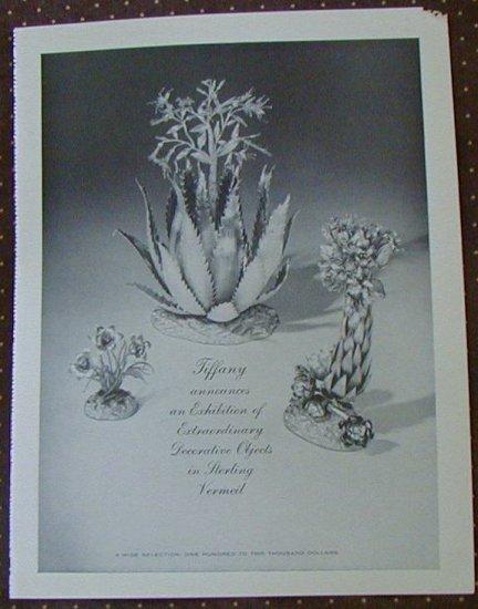 VINTAGE TIFFANY Sterling Vermeil 1961 AD~Flowers & Plants