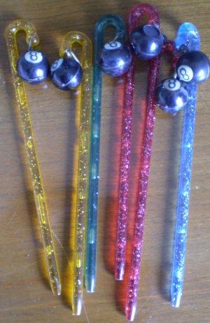 Vintage Swizzle Sticks Plastic 8 Ball Eight Billiards Pool Stirrer