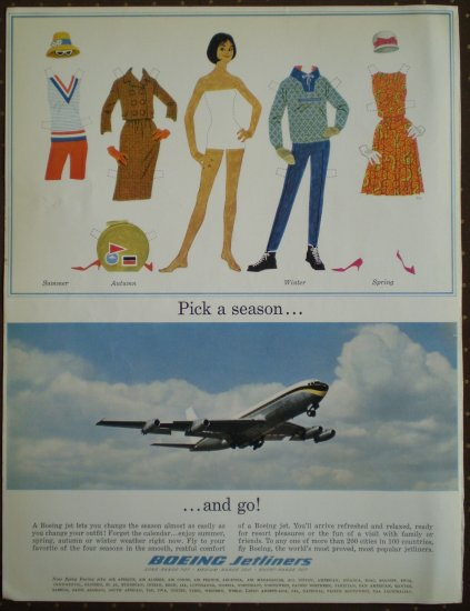 Vintage Ad Boeing Jetliners Paperdoll 1964 Pick a Season Paper Doll