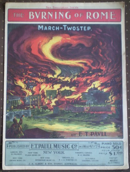 The Burning of Rome E T Paull 1903 sheet music March Two Step