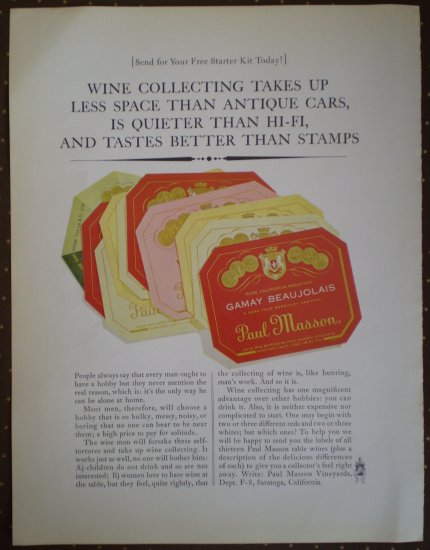 Vintage Ad Gamay Beaujolais Paul Masson 1964 Wine Collecting