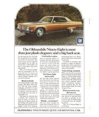 Oldsmobile Ninety Eight GM Vintage Ad 1971 Car Automobile 98