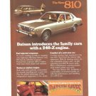 Datsun 810 240-Z Engine 1977 Vintage Ad Car Automobile