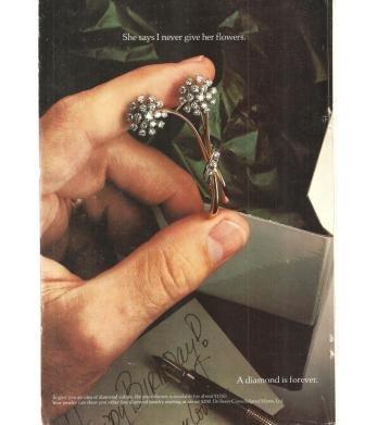 Diamond is Forever De Beers 1977 Vintage Ad Flower Brooch pin