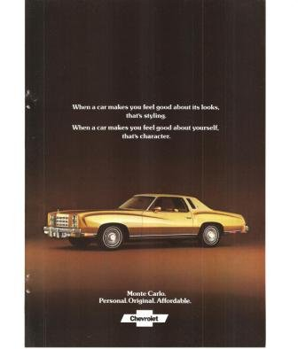 Chevrolet Monte Carlo 1977 Vintage Ad Car Automobile