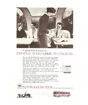 Trailways Silver Anniversary Bus Vintage Ad 1961